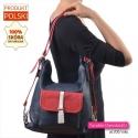 Granatowo - czerwono - biała skórzana polska torebka na ramię