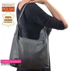 Szara skórzana torba damska na ramię