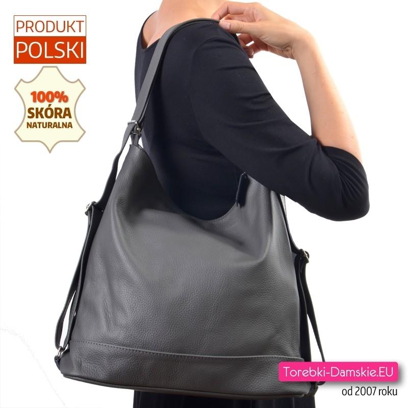 Duża szara torba ze skóry naturalnej na szerokich paskach