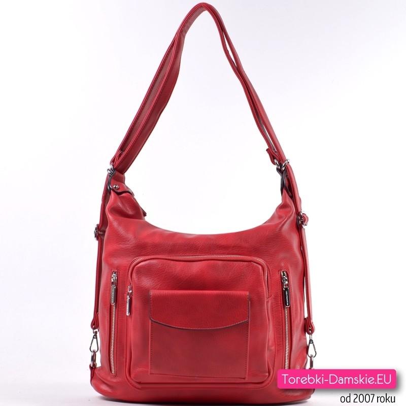 Czerwona miejska torba damska na ramię i do przewieszenia oraz plecak