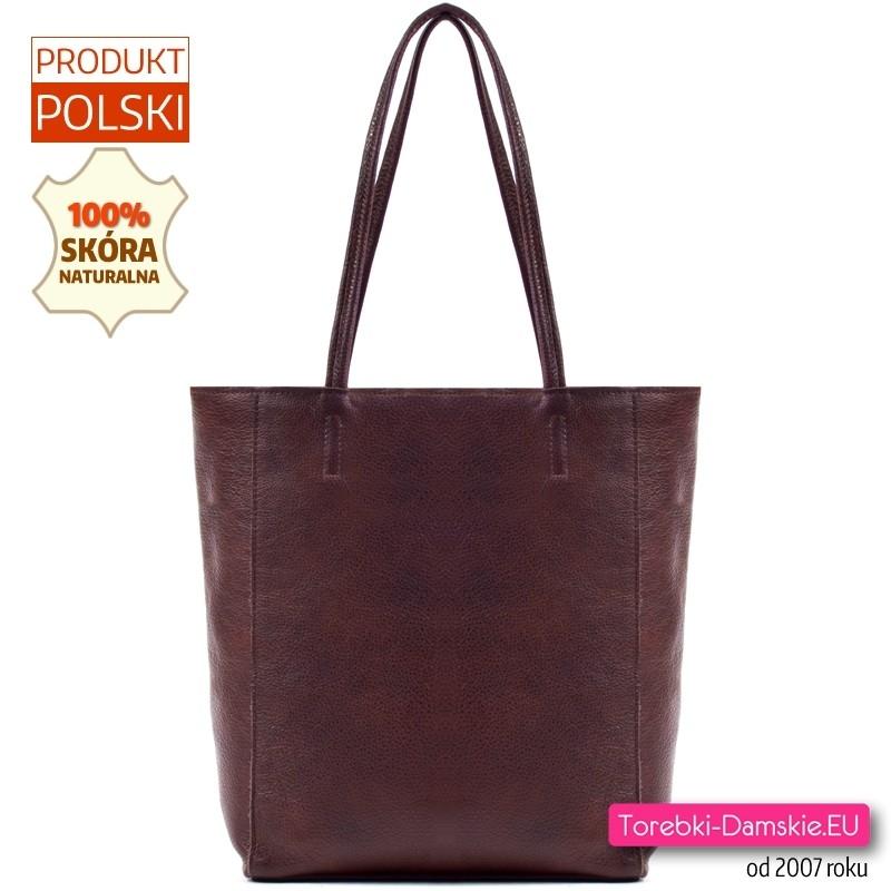 Brązowa torba damska shopper ze skóry w ciemnym odcieniu gorzkiej czekolady