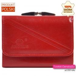 Czerwona skórzana portmonetka z biglem