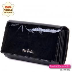 Czarny damski duży portfel z lakierowanej skóry
