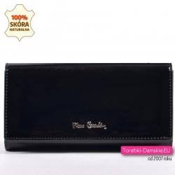 Duży czarny portfel damski ze skóry naturalnej