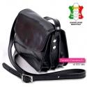 Włoska torebka crossbody z czarnej skóry naturalnej wysokiej jakości