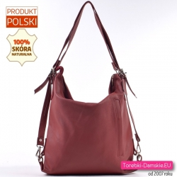 Bordowy torbo-plecak skórzany produkcji polskiej