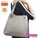 Polska torba ze skóry naturalnej do noszenia na ramieniu w ładnym odcieniu szarego