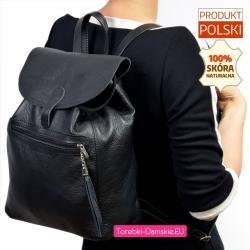 Skórzany czarny plecak damski