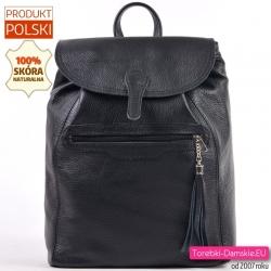 Czarny plecak damski ze skóry naturalnej mieszczący A4