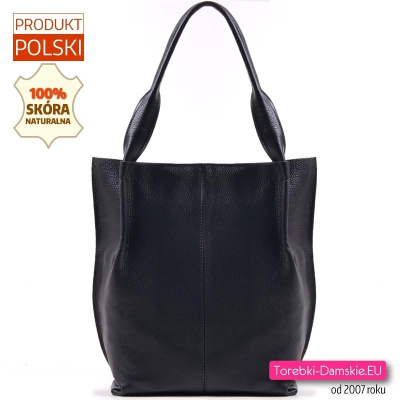 Shopper na ramię - torba skórzana czarna A4 zamykana suwakiem
