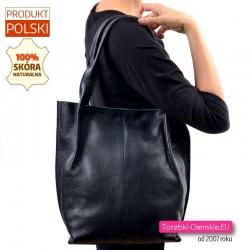 Zamykana suwakiem duża skórzana czarna polska torba damska