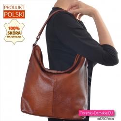 Polska duża torba na ramię ze skóry naturalnej kolor brązowy