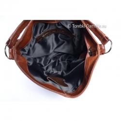 Skórzana funkcjonalna torba zamykana suwakiem wykończona podszewką wewnątrz