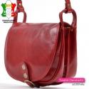 Dwukomorowa torebka damska z czerwonej skóry naturalnej