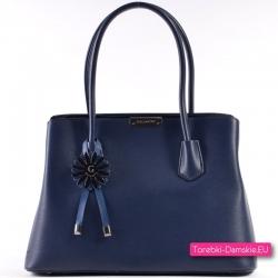 Elegancka granatowa torebka - kuferek w klasycznym stylu