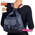 Plecak damski z granatowej skóry naturalnej
