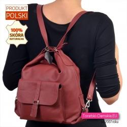 Bordowy damski plecak skórzany i torba w jednym