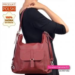 Torebko - plecak damski z bordowej skóry