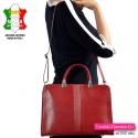 Skórzana czerwona damska aktówka włoska z możliwością noszenia w przewieszeniu