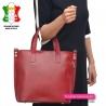 Torba włoska - shopper A4 z czerwonej gładkiej skóry