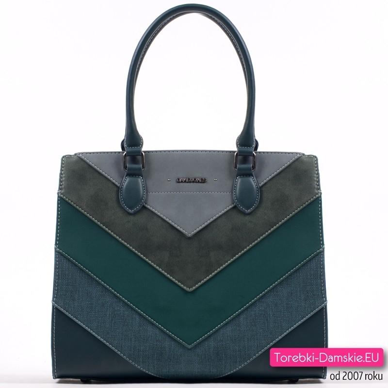 Zielona torba damska A4 - kuferek w pięknych ciemnych odcieniach