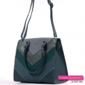 Kuferek A4 - zielona teczka damska w pięknym stylu z paskiem dopinanym