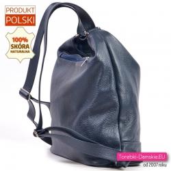 Plecako - torba damska z granatowej skóry