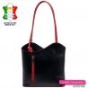 Czarna skórzana torebka z czerwonymi elementami - plecak średniej wielkości