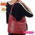 Czerwona torebka na ramię ze skóry z pionowym suwakiem