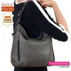 Średniej wielkości skórzana szara torebka damska na ramię
