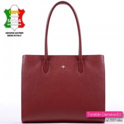 Włoska skórzana bordowa duża torba na ramię - elegancka teczka damska