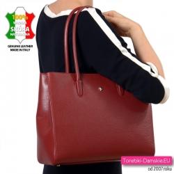Prostokątna skórzana torba na ramię produkcji włoskiej