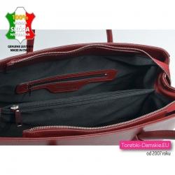 Skórzana torba A4 / teczka damska z przegrodą wewnątrz