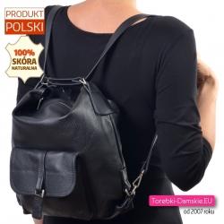 Plecako - torba skórzana czarna z kieszonką