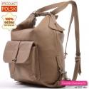 Torbo - plecak damski w kolorze beżowym ze skóry