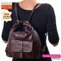 Plecak damski ze skóry w kolorze ciemnym brązowym mahoniowym