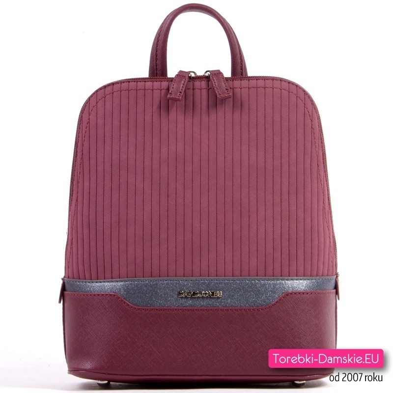 Bordowy stylowy plecak damski z pikowany z grafitową połyskującą wstawką
