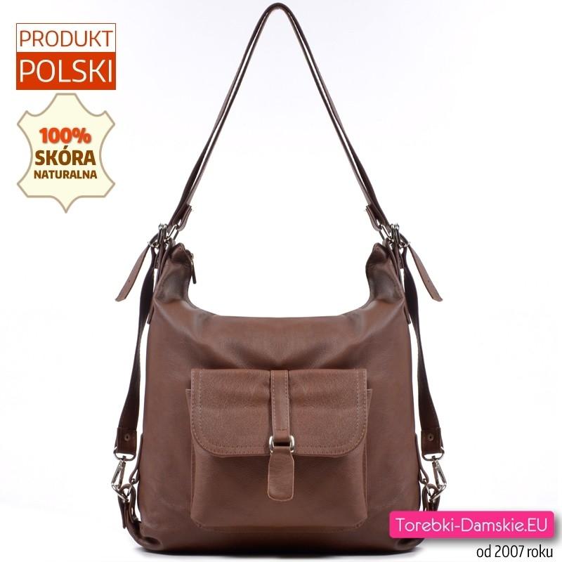 Brązowa torebka i plecak w jednym odcień czekoladowy - 149,00 zł