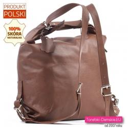 Plecako - torebka skórzana w ładnym odcieniu koloru brązowego