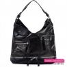 Czarna duża torba damska z suwakiem ozdobnymi i kieszeniami