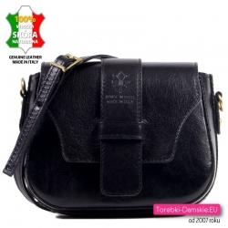 Czarna mała torebka ze skóry naturalnej