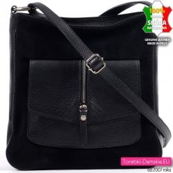 Czarna torebka skórzana średniej wielkości z zamszowym przodem