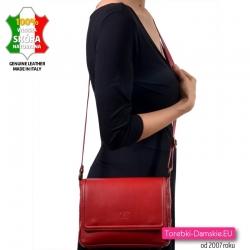 Czerwona skórzana torebka damska do przewieszenia - średnia wielkość