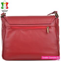 Skórzana czerwona torebka z kieszenią z tyłu i pod klapą z przodu