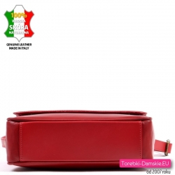 Czerwona włoska torebka z miękkiej skóry