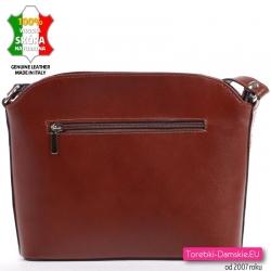 Elegancka torebka z brązowej skóry - mała, długi pasek, kieszeń z tyłu i z przodu