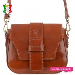 Włoska brązowa torebka ze skóry w pięknym odcieniu