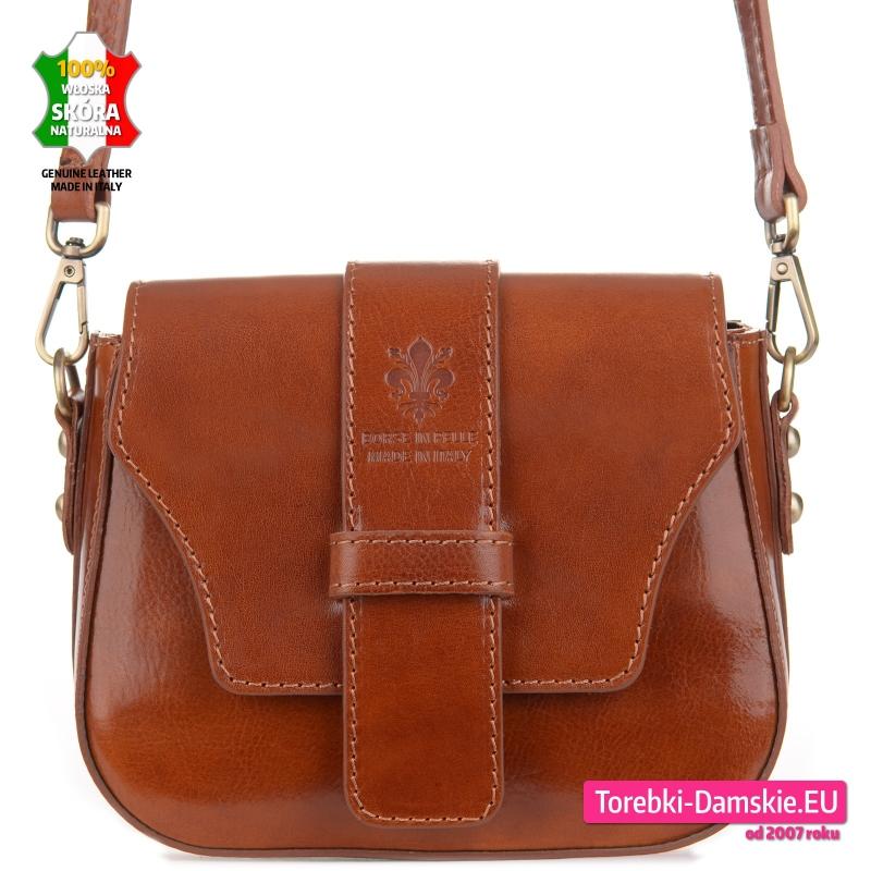 Skórzana mała włoska torebka w pięknym odcieniu brązu - 169,00 zł
