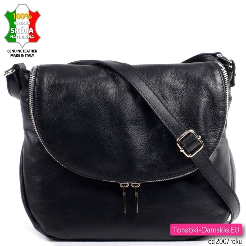 Średniej wielkości torebka z klapą z czarnej miękkiej skóry - 169,00 zł