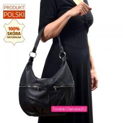 Skórzana duża czarna torba z dwoma suwakami z przodu